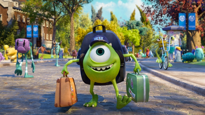 "JUST ANOTHER WIDE-EYED COLLEGE STUDENT – Mike Wazowski has arrived—and Monsters University will never be the same. ""Monsters University"" is in theaters June 21, 2013, and will be shown in Disney Digital 3D™ in select theaters. ©2013 Disney•Pixar. All Rights Reserved."