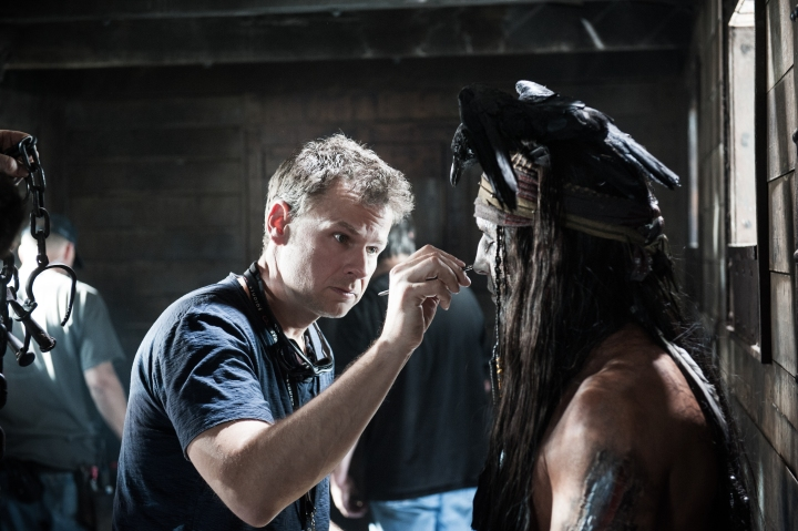 Makeup Department Head Joel Harlow and Johnny Depp as Tonto ©Disney Enterprises, Inc. and Jerry Bruckheimer Inc.  All Rights Reserved.
