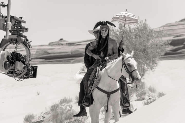 Armie Hammer as The Lone Ranger and Johnny Depp as Tonto Ph: Peter Mountain ©Disney Enterprises, Inc. and Jerry Bruckheimer Inc.  All Rights Reserved.