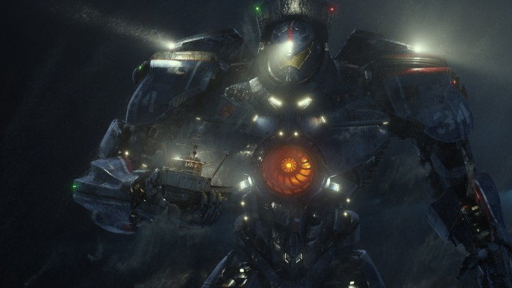 "TITANES DEL PACÍFICO Copyright: © 2013 WARNER BROS. ENTERTAINMENT INC. AND LEGENDARY PICTURES The United States' Gipsy Danger moves a crab fishing boat out of danger in a scene from the sci-fi action adventure ""Warner Bros. Pictures and Legendary Pictures Pacific Rim,"" a Warner Bros."