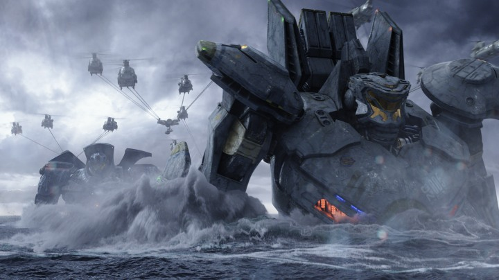 "The United States' Gipsy Danger and Australia's Striker Eureka in a scene from the sci-fi action adventure ""Warner Bros. Pictures and Legendary Pictures PACIFIC RIM,"" COURTESY OF WARNER BROS. PICTURES"