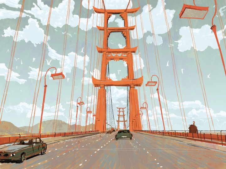 BRIDGE TO SAN FRANSOKYO – Concept art showcases an iconic bridge and treasured landmark of the high-tech, fast-paced city of San Fransokyo, the setting for Walt Disney Animation Studios