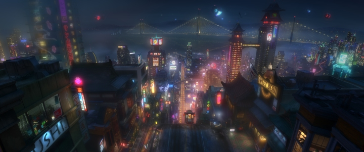 SAN FRANSOKYO AT NIGHT – Pictured in concept art, the high-tech city of San Fransokyo is home to brilliant robotics prodigy Hiro Hamada and his team of first-time crime fighters in Walt Disney Animation